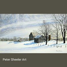Winter farm landscape. 18 x 24 inches. www.ebay.ca/usr/sheelerart #art #artist #original #watercolor #watercolour #painting #ebay #paintingaday #ink #pen #waterbrush #winsornewtonmarker #farm #country #countryside #rural #landscape #snow #winter