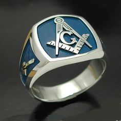 Masonic Ring with Blue Background – 006BL