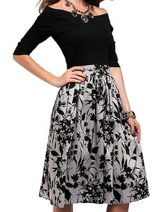 5f1cf5ce1b Simple Flavor Women's Foral Print Off Shoulder Patchwork Midi Vintage Dress  at Amazon Women's Clothing store: