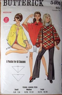 Butterick 5401 1960s Pullover Poncho Cover Up Pattern by mbchills