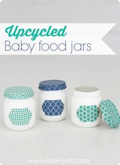 Baby food jars upcycled into charming little storage jars