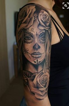 Black And White Sugar Skull Tattoo Inked Inspiration A Collection