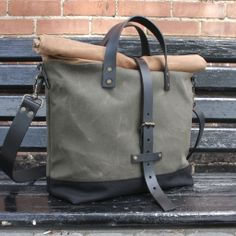 canvas leather roll top bag | madrad textiles