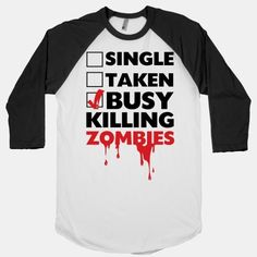 I found 'Busy Killing Zombies (White & Black Baseball T-Shirt)' on Wish, check it out!