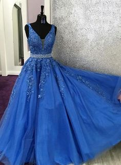 V Neck Royal Blue Lace Graduation senior Prom dresses Long with Beading Belt - US 10 / As Photo Elegant Homecoming Dresses, Senior Prom Dresses, Royal Blue Prom Dresses, Blue Evening Dresses, A Line Prom Dresses, Cheap Prom Dresses, Quinceanera Dresses, Party Dresses, Prom Gowns