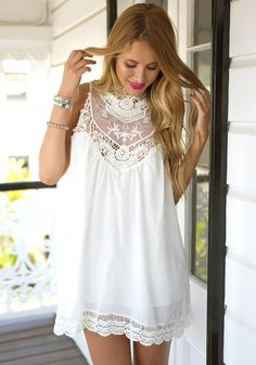 Achieve that comfortable summer outfit in this white lace chiffon mini dress. It has double-button closure at back and is partially lined. Own one here. | Lookbook Store Summer Style