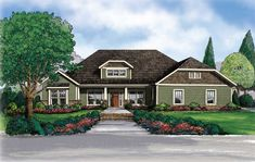 This extraordinary Craftsman style home with Dutch hip roof features all of the amenities that will make your house become a home. You will be welcomed home by this relaxing front porch. The master suite is split from the other bedrooms by the spacious 'living center' of the house. This is one of America's Home Place's most popular plans.