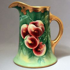 Antique GUERIN LIMOGES France PITCHER Hand Painted SIGNED Gold Peaches Fruit #LimogesGuerin
