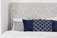 DecoPix Bedroom details with soft greige, crispy white and elegant dark navy.
