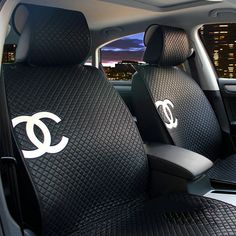 NAME:Luxury Chanel Universal Automobile Sheepskin Car Seat Cover Cushion  10pcs Sets - Black