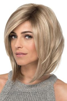 With Bangs 12 Chin Length Blonde Lace Front Ladies Wigs Asymmetrical Bob Haircuts, Angled Bob Hairstyles, Bob Hairstyles For Fine Hair, Cool Hairstyles, Party Hairstyles, Wedding Hairstyles, Blonde Balayage Bob, Blonde Bobs, Blond Beige