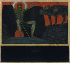 Franz von Stuck (German, 1863-1928), Pluto, 1909. Oil on panel, 52.5 x 80.5 cm.