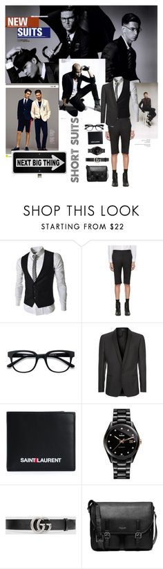 """""""The New Suit"""" by scope-stilettos ❤ liked on Polyvore featuring Zink, Dansk, Balenciaga, Dolce&Gabbana, Yves Saint Laurent, Rado, Gucci, Michael Kors, men's fashion and menswear"""