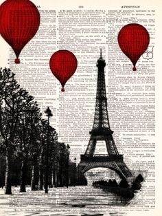 Buy 2 Get 1 FREE - Hot Air Balloons Over Paris Vintage Dictionary Print Vintage Book Print Page Art Upcycled Vintage Book Art.