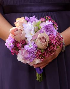 Wedding bouquet- light purple, light pink, and dark pink floral mix- bridesmaid bouquet -Hand-tied bouquet style
