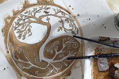Celtic Yin Yang Tree Painted in Coffee