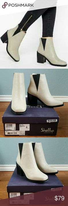NIB Shellys London Lovenia Chelsea Boots ASOS New in box, never worn. Genuine leather. Shellys London Lovenia Chelsea Boots. Sold at ASOS and Nasty Gal. The color is called Ice, which is a light beige or a dark off-white. Black stretch inset on the side and black sole. Perfect for a 60's British rocker style, or a sleek modern street style. Euro size 37, US women's size 6.5. ASOS Shoes Ankle Boots & Booties