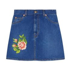 Gucci Embroidered Denim Mini Skirt (€550) ❤ liked on Polyvore featuring skirts, mini skirts, bottoms, denim, ready to wear, women, denim mini skirt, denim skirt, blue mini skirt and blue skirt