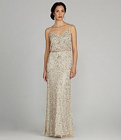 9a0980d3c0a Adrianna Papell SpaghettiStrap Beaded Blouson Gown  Dillards  98 size 10  and up available LETICIA