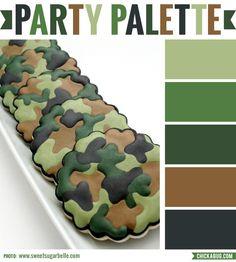 Party palette: Color inspiration in camo colors #colorpalette