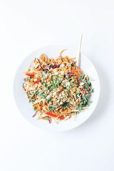 Vegan Peanut Sauce, Noodle Bowls, Noodle Salads, Real Food Recipes, Healthy Recipes, Sweet Potato Noodles, Slaw Recipes, Summer Meal Planning, How To Cook Shrimp