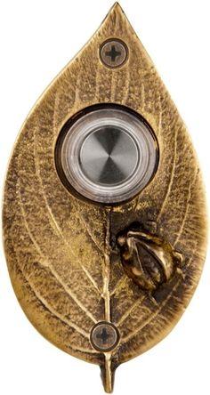 Waterwood Hardware Ladybug on Leaf Doorbell Finish: Antique Brass Unique Door Bells, Unique Doors, Doorbell Cover, Doorbell Button, Doorbell Chime, Craftsman Exterior, Sand Casting, Door Knockers, Solid Brass
