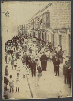 Rare Malta Albumen Photo showing first procession of St Joseph in Hamrun Malta History, Malta Valletta, Malta Island, Little Island, St Joseph, Black And White Photography, Old Photos, Saints, Survival