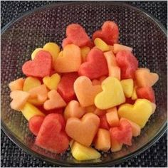 heart-shaped fruit salad