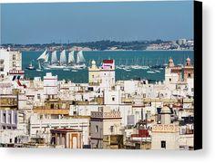 Tall Ship Juan Sebastian Elcano Departing Cadiz Spain Canvas Print / Canvas Art by Pablo Avanzini Cadiz Spain, Canvas Art, Canvas Prints, Tall Ships, Paris Skyline, Travel, Style, Boats, Swag