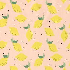 Stretchjersey ljusrosa med citrusfrukt