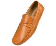 Amali Mens Tan Textured Smooth Penny Loafer Driving Moccasin Shoe Donner-028 #Amali #DrivingMoccasins