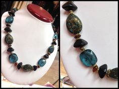 Gorgeous Teal and Gold stone necklace