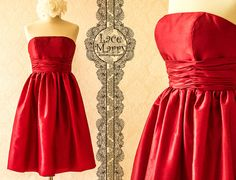Red Strapless Knee Length Bridesmaid Dress in Taffeta by LaceMarry, $79.00