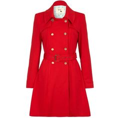 Yumi Double breasted ponte trench ($130) ❤ liked on Polyvore featuring outerwear, coats, clearance, red, waist belt, trench coat, long sleeve coat, double breasted trench coat and red trench coat