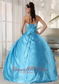 Aqua Blue Ball Gown Strapless  Sweet 15 Dresses