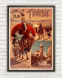 Vintage Poster of Tunisie Tunisia  1891 Tourism by OldCityPrints, $24.00