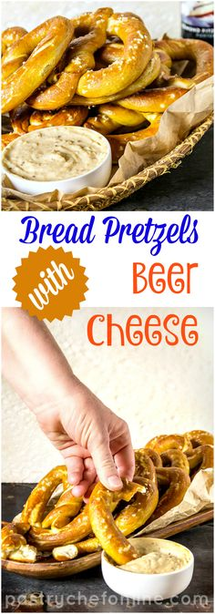 Impress your guests at your next cocktail party with homemade bread pretzels with beer cheese. My version has porter, mustard, sharp aged Provolone and Grana Padana (or Parmesan). Full of flavor, you will not be able to stop eating it! #ProgressiveEats | pastrychefonline.com
