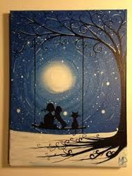 Couple on a swing w/cat under full moon artwork silhouette