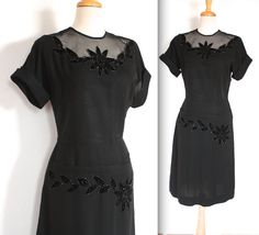 Hey, I found this really awesome Etsy listing at https://www.etsy.com/listing/215869421/vintage-1940s-dress-40s-50s-black
