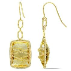 Yellow Gold Plated Silver 18ct TGW Citrine Dangle Earrings Amour. $106.00