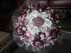 Chocolate Sensations Button and Brooch Wedding Bouquet. £250.00, via Etsy.
