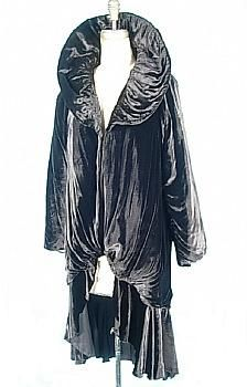 c. 1920's Black Silk Velvet Cocoon Coat