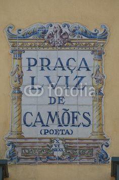 Praça Luís de Camões, ceramic sign on the square, Lisbon