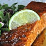Sweet & Spicy Peach Glazed Salmon. Yummy! Made avocado crema to accompany.