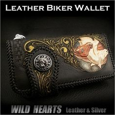 Men's Wallet Biker Wallet Horse Hand Carved Leather Genuine Cowhide Handcrafted Custom Handmade WILD HEARTS Leather&Silver ( ID lw2558 )  http://item.rakuten.co.jp/auc-wildhearts/lw2558/
