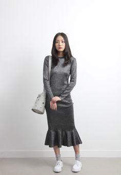 Silver Metallic Mermaid Knit Dress