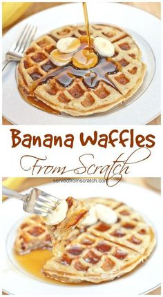 The perfect weekend brunch made at home, Banana Waffles From Scratch! #waffles #fromscratch #breakfast #brunch #bananawaffles One Waffle Recipe, Waffle Maker Recipes, Pancake Recipes, Best Breakfast Recipes, Brunch Recipes, Dessert Recipes, Crepe Recipes, Breakfast Ideas, Milk Recipes
