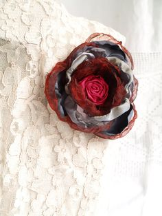 Grey Flowers, Burgundy Flowers, Burgundy Color, Fabric Flowers, Red Corsages, Red And Grey, Gray, Dance Accessories, Hair Accessories