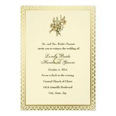 Catholic Wedding Invitation Ivory Christian Cross Lilies Wedding Invitation