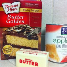 apple cobbler with just 3 ingredients means my kind of recipe! Easy Desserts, Delicious Desserts, Yummy Food, Box Cake Recipes, Dessert Recipes, Apple Recipes, Baking Recipes, Apple Dump Cakes, Pampered Chef Recipes